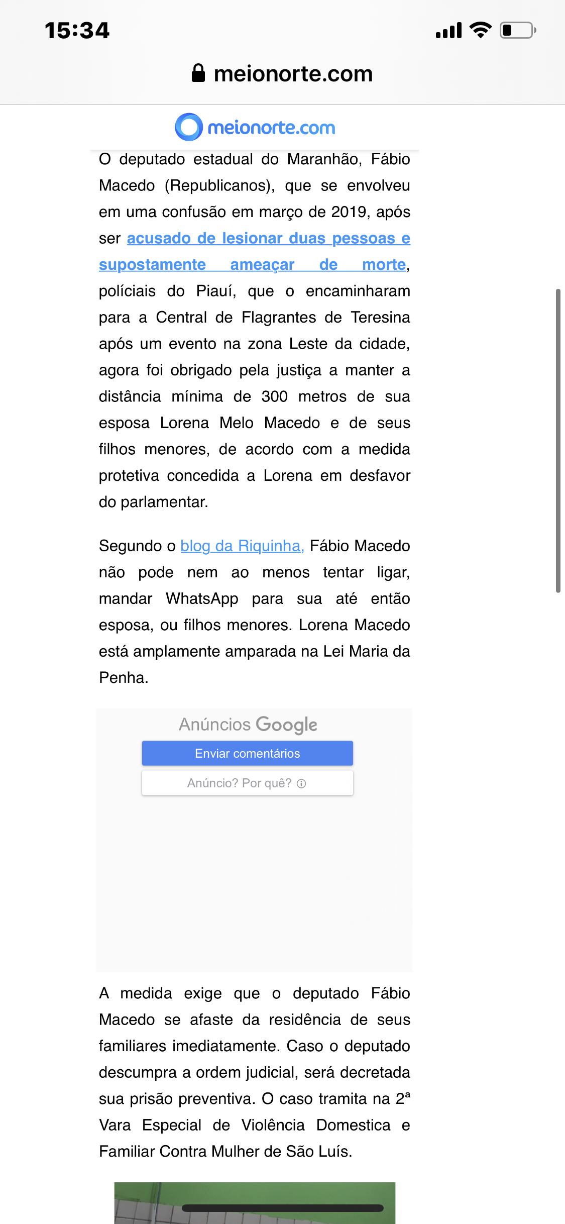 Caso Fábio Macedo e Lei Maria da Penha: Postagem do Blog da Riquinha repercute na TV Meio Norte de Teresina