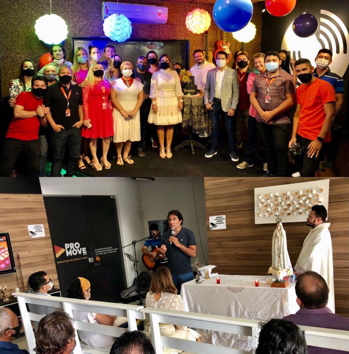 Lobão Filho e Paulinha Lobão comemoram aniversário da Rádio Nova FM 93.1